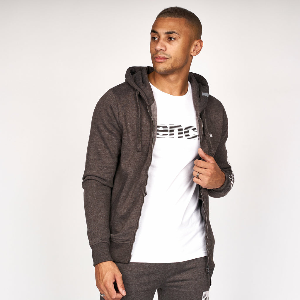 Mens Hazard Zip Thru Hoodie Charcoal Marl