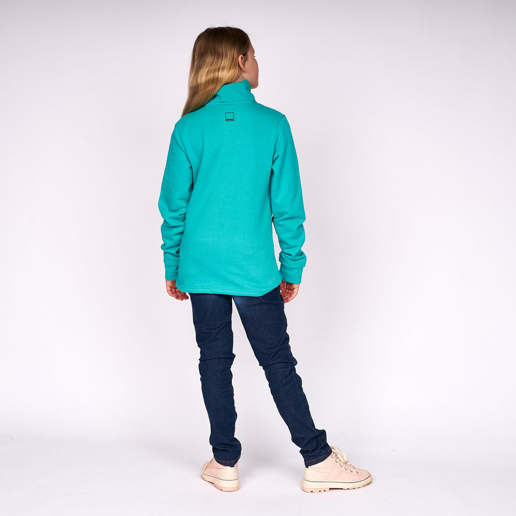 Girls Monica Zip Thru Sweat Baltic Blue