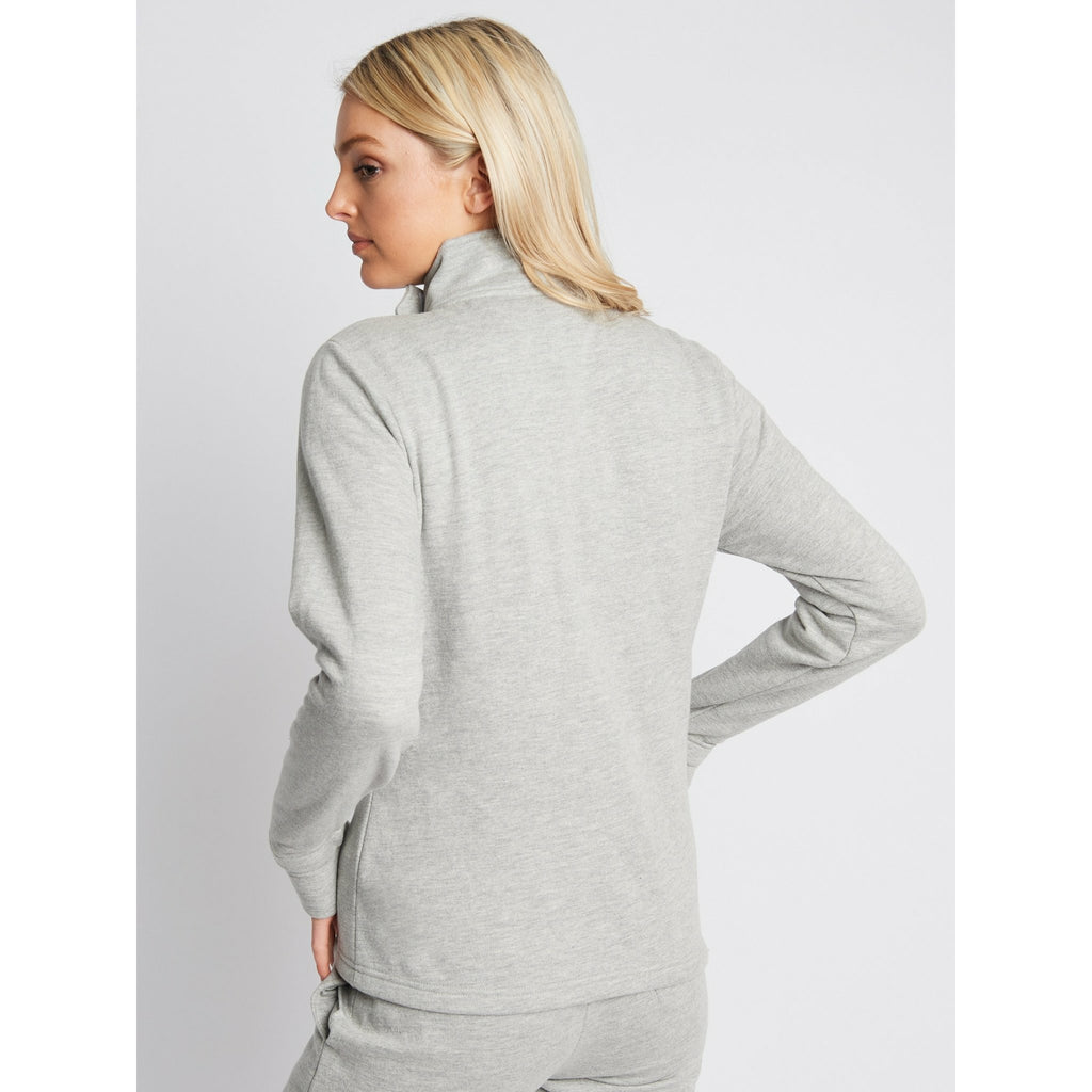 Ladies HAYLO Zip Thru Neck Wrap Sweat - GREY MARL - Bench Clothing - #LoveMyHoodSIZE 8Zip Thru
