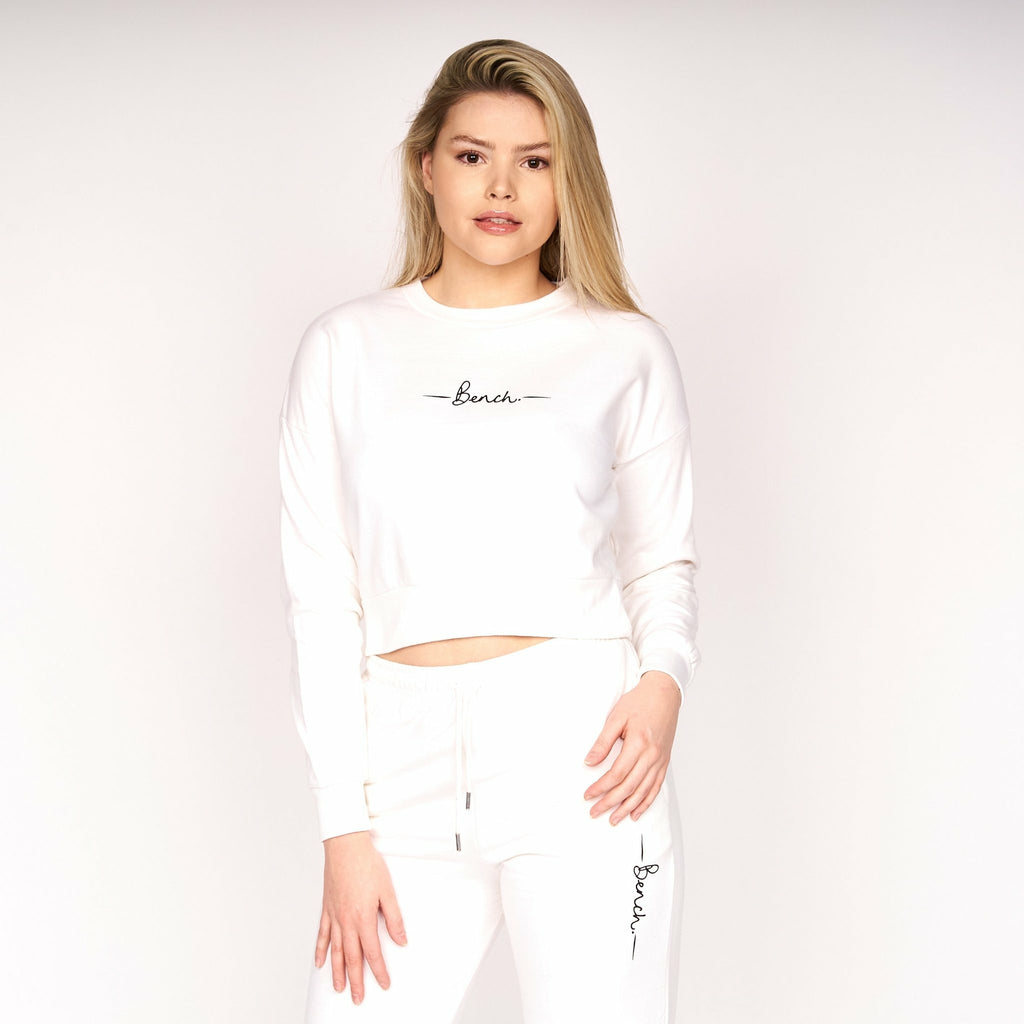 Womens Sustainable Alyssa Crop Sweat White - Bench Clothing - #LoveMyHoodSize 10Hoodies