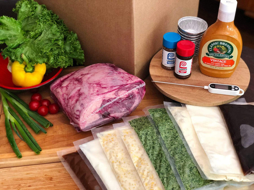products from a Lawry's At Home shipment, including prime rib, side dishes, and seasonings