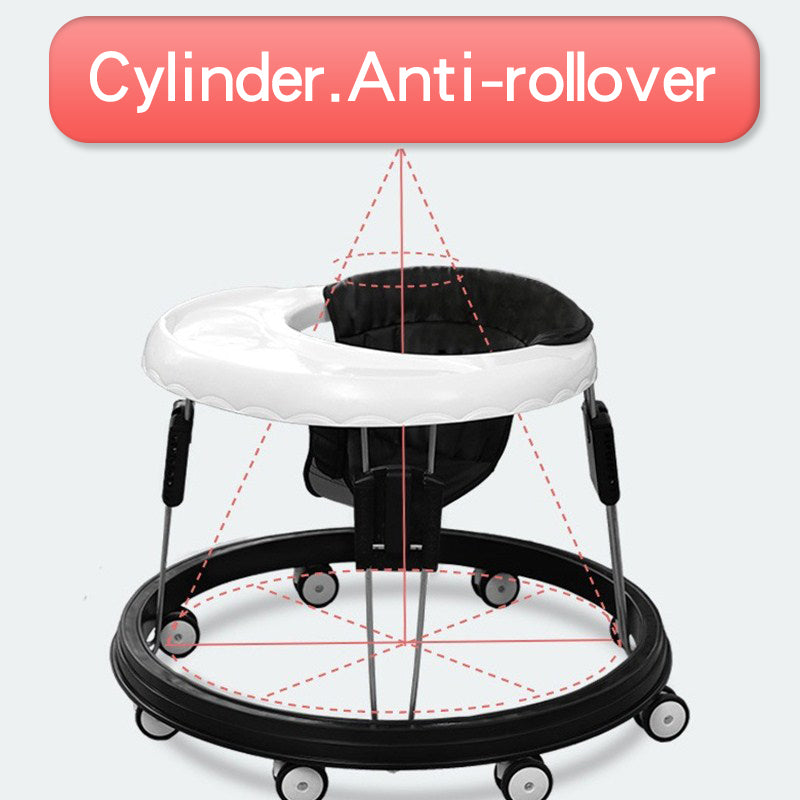 Foldable Baby Walker for Boys and Girls, Multi-functional Anti-Rollover Toddler Walker with Adjustable Height - Mammaz Cart