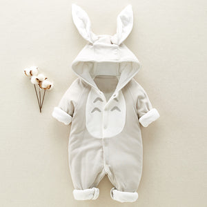 Cute Cotton Padded Baby Romper - Thickened Hooded Chinchilla - Mammaz Cart