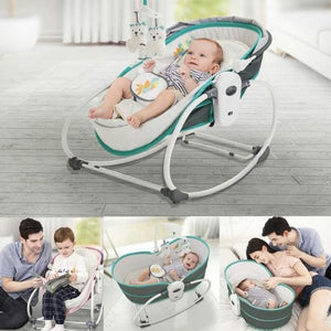 Mastela 5 in 1 Baby Bassinet Rocker Rocking Napper, Bounce, Chair with Removable Baby Bassinet & Melody - Green - Mammaz Cart