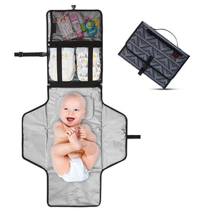 Portable Baby Changing Pad,Waterproof Diaper Changing Pad,Built-in Baby Head Pillow,Baby Diapering Travel Mat Station for Toddlers Infants & Newborns - Mammaz Cart