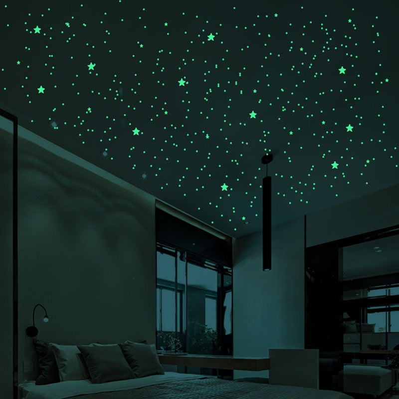 3D Glow in The Dark Stars for Ceiling or Wall Stickers - Glowing Wall Decals Stickers Room Decor Kit - Galaxy Glow Star Set and Solar System Decal for Kids Bedroom Decoration - Mammaz Cart