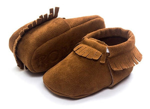Genuine Leather Baby Moccasins - Essential Baby Shoe Walker - Non-slip Elastic Band for protection - Mammaz Cart