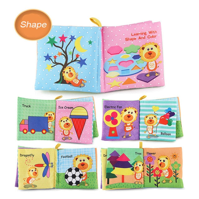 Baby Soft Cloth Book Animal Colors Shape Educational Toys For 0-12 Months - Mammaz Cart