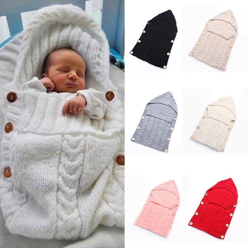 Newborn Baby Cute Knitted Crochet Hooded Sleeping Bags Babies Swaddle Wrap - Mammaz Cart