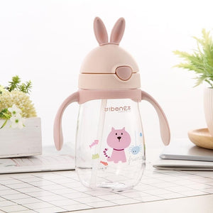 Cute Rabbit Bottle Cup for Baby Water and Milk Drinking with a Straw and Anti-slip Handles - Mammaz Cart