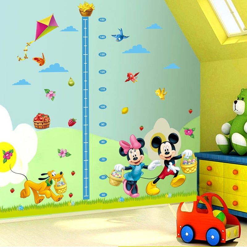 Minnie & Mickey Mouse Height Measurement Wallpaper - Mammaz Cart