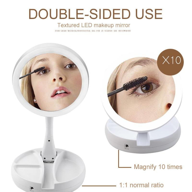 "Vanity Perfection™ - Foldable LED Magnifying Makeup Mirror (+FREE ""PickHappiness' Gift Package)"