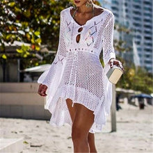 Load image into Gallery viewer, Summer Women White Tunic Beach Wrap Dress
