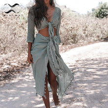 Load image into Gallery viewer, Tassel sarong cover-ups Summer beach dress