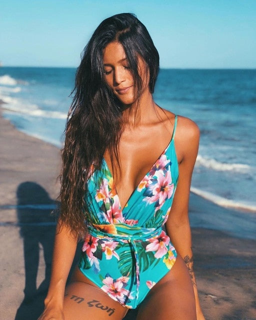 Sexy One Piece Swimsuit Female Backless Bodysuit