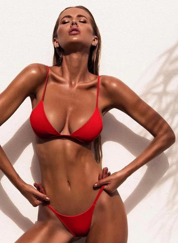 Colors Solid Bikini Set Sexy Push Up Swimwear