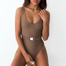 Load image into Gallery viewer, Buckle white bodysuit Push up sexy bikini