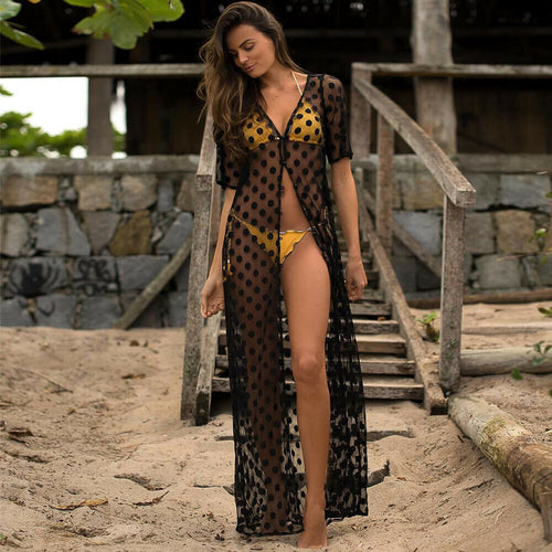 Bikini Cover Up Lace Mesh Polka Dots Swimsuit
