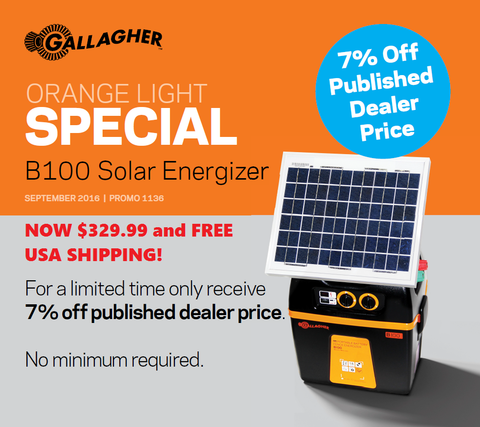Gallagher B100 Solar Electric Fence Charger Energizer on sale!