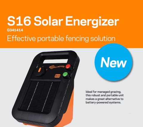 Gallagher S16 Solar Powered Electric Fence Charger Energizer Controller