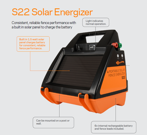 Gallagher S22 Solar electric fence charger details Best Price!