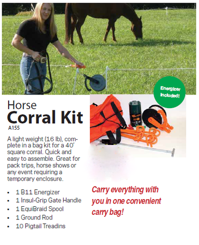 Gallagher Electric Fence Horse Corral Kit, Pack Trip, Show