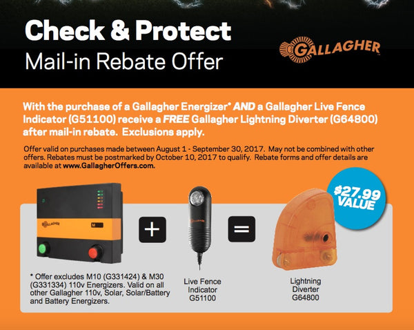 Gallagher Electric fence charger rebate special deal from Valley Farm Supply