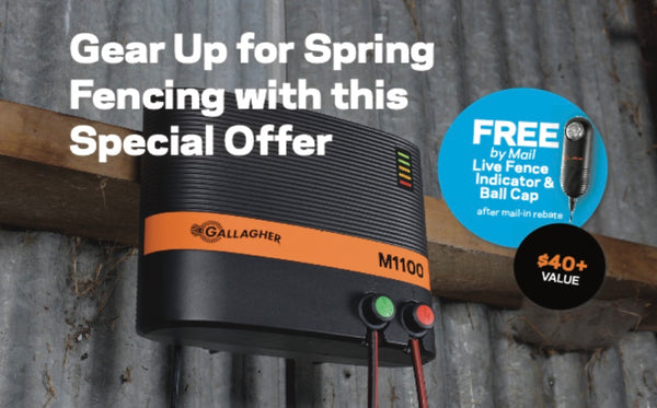 Purchase a qualifying* Gallagher 110 volt, Plug-In Energizer AND a Gallagher Volt Meter (G50314) to receive a FREE Live Fence Indicator (G51100) & Gallagher ball cap after mail-in rebate.