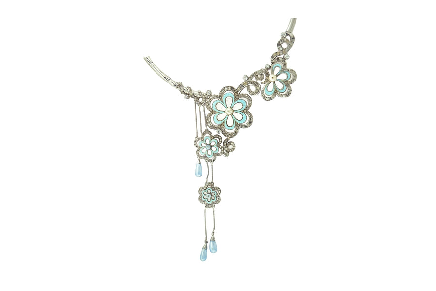Silver Crystal Neck Piece KCNP(L)1008