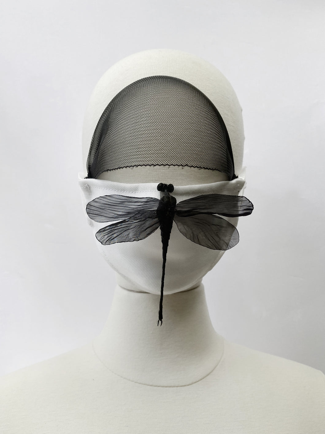 "Face Mask with Veil. Limited edition with handmade ""Dragonfly"" pin."