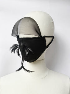 "Face Mask with Veil. Limited edition with handmade ""Bird"" pin."