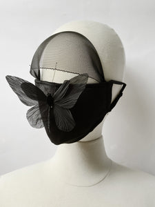 "Face Mask with Veil.  Limited edition with handmade ""Butterfly"" pin."