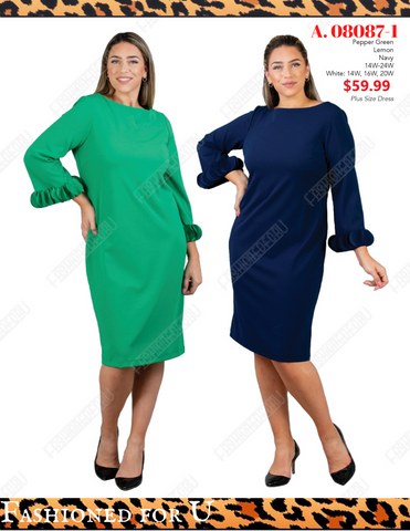 Plus/Curvy Size Dress, Midi Sheath, Navy ,Yellow, Green - Fashioned for U