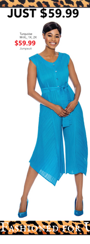 Sleeveless Pleated Culotte Jumpsuit (Black, Turquoise) - Fashioned for U