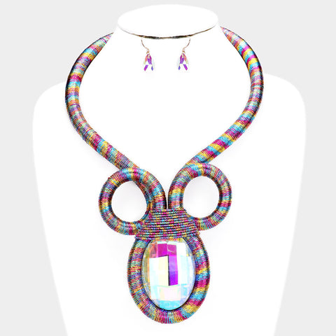 Coiled Multi Colored Crystal Necklace