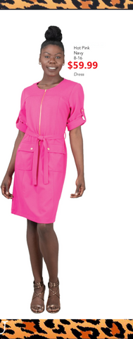 Short Sleeve Comfortable Front Zippered  Belted Dress (Pink or Navy) - Fashioned for U