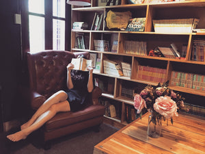 CharmaineLouise Books CLBooks Woman reading book in home library