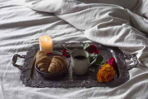CharmaineLouise Intimates CLIntimates romantic candle lit breakfast on a silver tray
