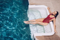 CharmaineLouise Books CLBooks Steele International Jackson Corporation Alpha Billionaires Woman in Red Bathing Suit in Pool