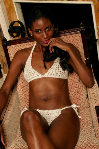 Sexy pretty woman wearing CharmaineLouise Intimates CLIntimates Lena cream cashmere crochet full-cup bra crochet string bikini panties