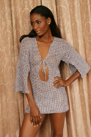 Sexy pretty woman wearing CharmaineLouiseIntimates CLIntimates Jackie silver silk crochet tunic crochet string bikini panties