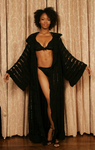 Sexy pretty woman wearing CharmaineLouise Intimates CLIntimates Diana black cashmere crochet kimono robe black crochet bra string bikini