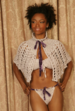 Sexy pretty woman wearing CharmaineLouise Intimates CLIntimates Ginger purple cashmere silk crochet cape capelet purple crochet strapless bra purple crochet string bikini panties