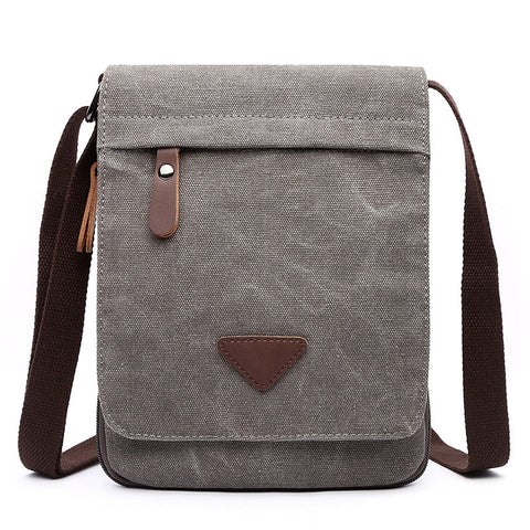 Casual Men's Canvas Shoulder Bag - Grey