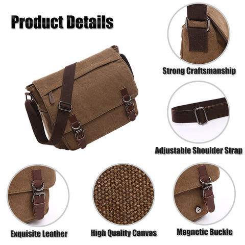 Laptop Messenger Bag - Men's Shoulder Bag - 16 Inches Vintage Canvas Bag - Coffee Color