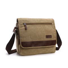 Men's Messenger Bag -  Retro Canvas Shoulder Bag - Light Brown
