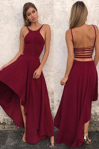 Unique A Line Burgundy High Low Sleeveless Backless Prom Dresses Cheap Evening Dresses XHLPST15450