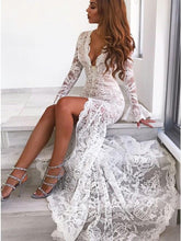 Load image into Gallery viewer, Long Sleeves Mermaid Lace V Neck Wedding Dresses with Slit Wedding XHLPST20423