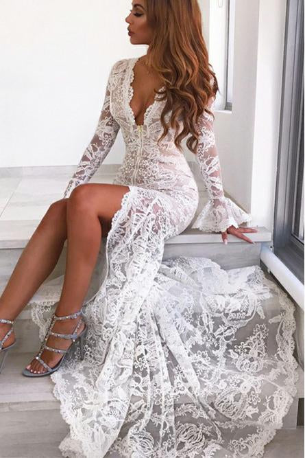Long Sleeves Mermaid Lace V Neck Wedding Dresses with Slit Wedding XHLPST20423