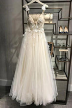 Load image into Gallery viewer, Spaghetti Straps Deep V Neck Backless Tulle Prom Dress with Flowers Beach Wedding Gowns XHLPST15413
